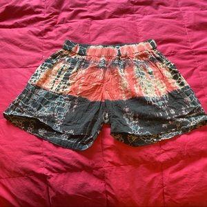 Exist medium tie dye shorts pink black grey salmon